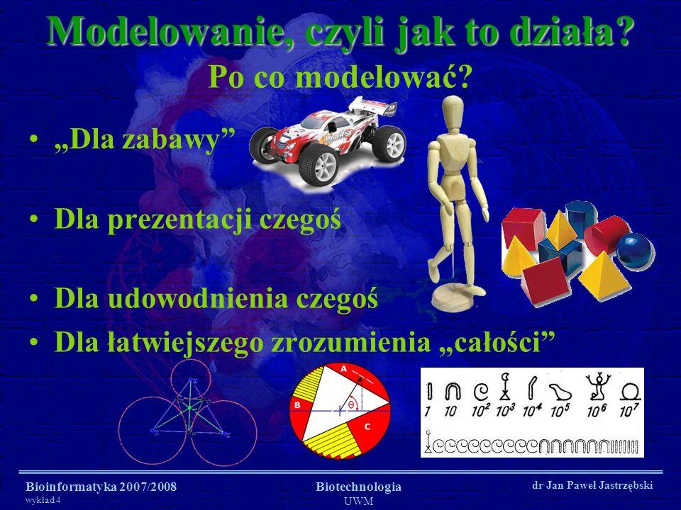Bioinformatyka 2007/2008 wykład 4 Biotechnologia UWM dr Jan Paweł Jastrzębski Modelowanie, czyli jak to działa? Dla zabawy Dla prezentacji czegoś Dla