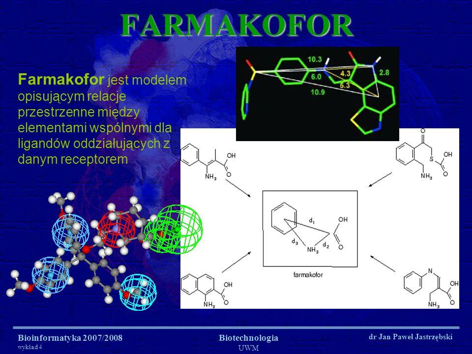 Bioinformatyka 2007/2008 wykład 4 Biotechnologia UWM dr Jan Paweł JastrzębskiFARMAKOFOR Farmakofor jest modelem opisującym relacje przestrzenne między