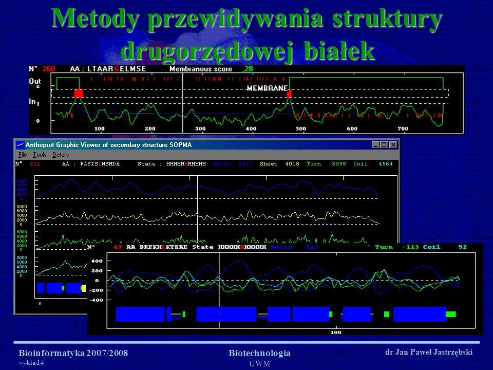 Bioinformatyka 2007/2008 wykład 4 Biotechnologia UWM dr Jan Paweł Jastrzębski Metody przewidywania struktury drugorzędowej białek GOR-I