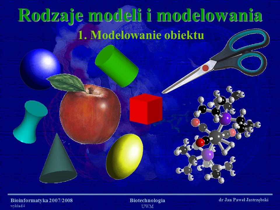 Bioinformatyka 2007/2008 wykład 4 Biotechnologia UWM dr Jan Paweł Jastrzębski Rodzaje modeli i modelowania 1. Modelowanie obiektu