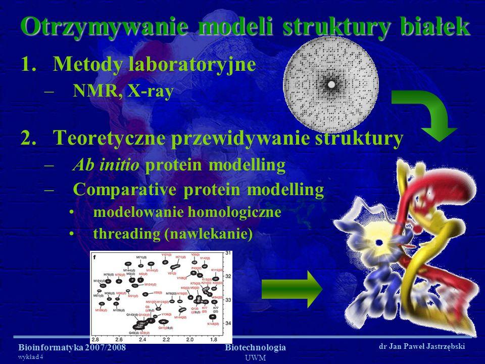 Bioinformatyka 2007/2008 wykład 4 Biotechnologia UWM dr Jan Paweł Jastrzębski Otrzymywanie modeli struktury białek 1.Metody laboratoryjne –NMR, X-ray