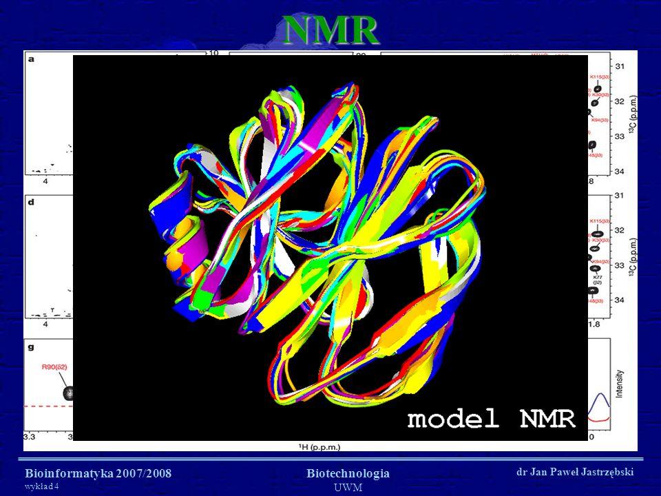 Bioinformatyka 2007/2008 wykład 4 Biotechnologia UWM dr Jan Paweł JastrzębskiNMR