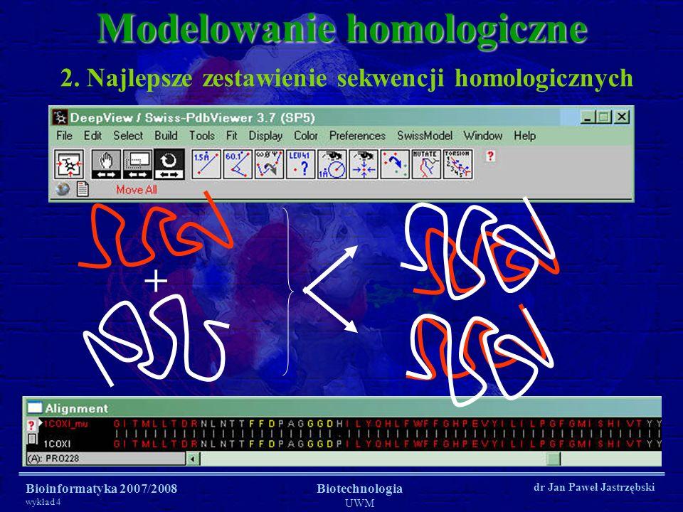 Bioinformatyka 2007/2008 wykład 4 Biotechnologia UWM dr Jan Paweł Jastrzębski 2. Najlepsze zestawienie sekwencji homologicznych Modelowanie homologicz