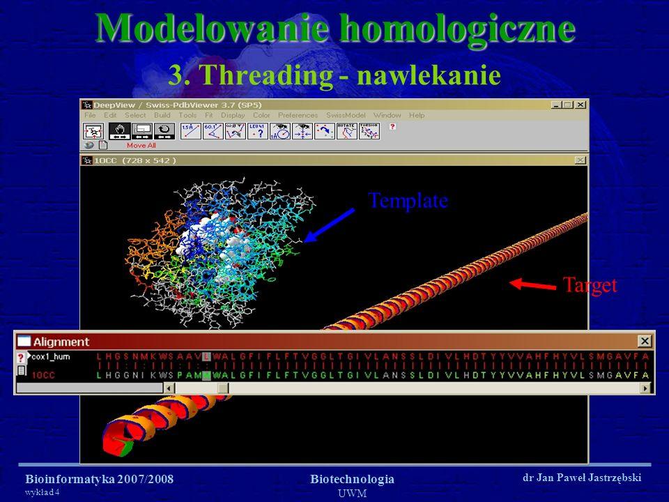 Bioinformatyka 2007/2008 wykład 4 Biotechnologia UWM dr Jan Paweł Jastrzębski 3. Threading - nawlekanie Modelowanie homologiczne Target Template