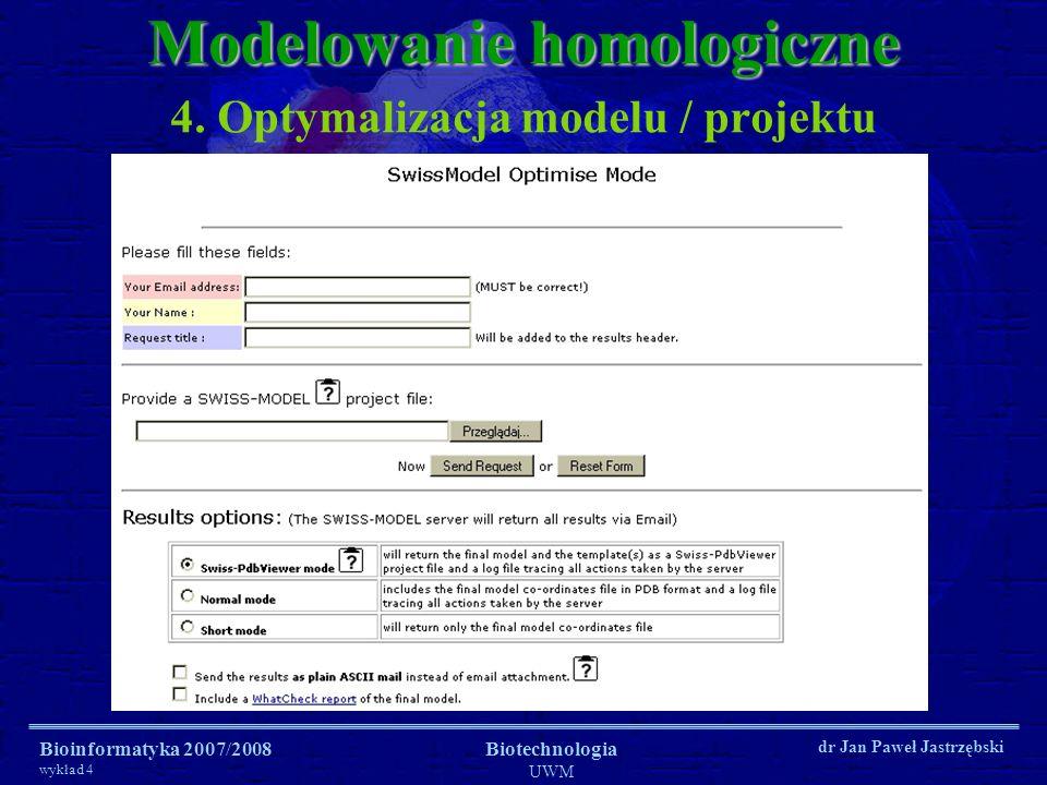 Bioinformatyka 2007/2008 wykład 4 Biotechnologia UWM dr Jan Paweł Jastrzębski 4. Optymalizacja modelu / projektu Modelowanie homologiczne
