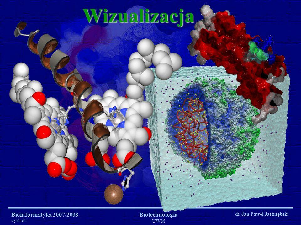 Bioinformatyka 2007/2008 wykład 4 Biotechnologia UWM dr Jan Paweł JastrzębskiWizualizacja