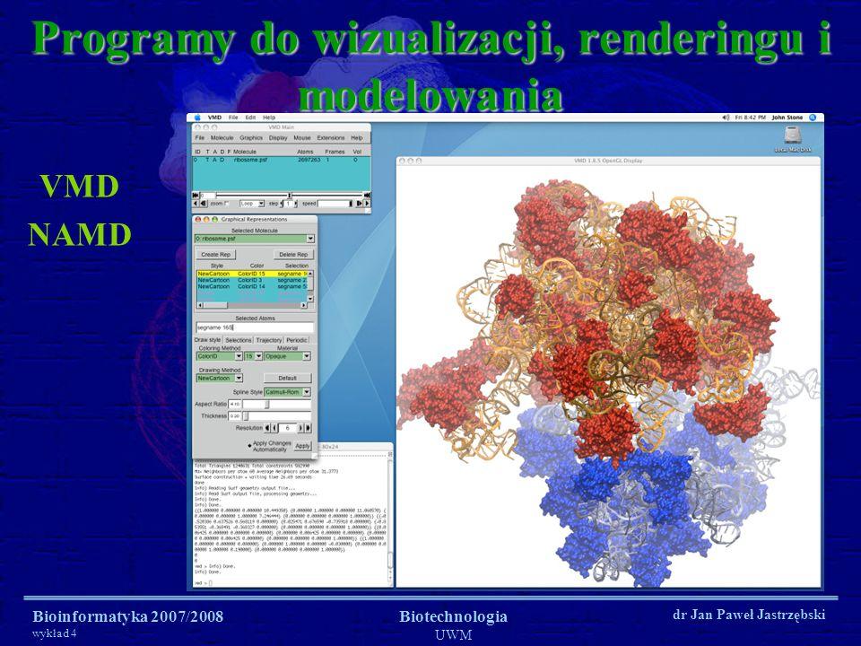 Bioinformatyka 2007/2008 wykład 4 Biotechnologia UWM dr Jan Paweł Jastrzębski VMD NAMD Programy do wizualizacji, renderingu i modelowania