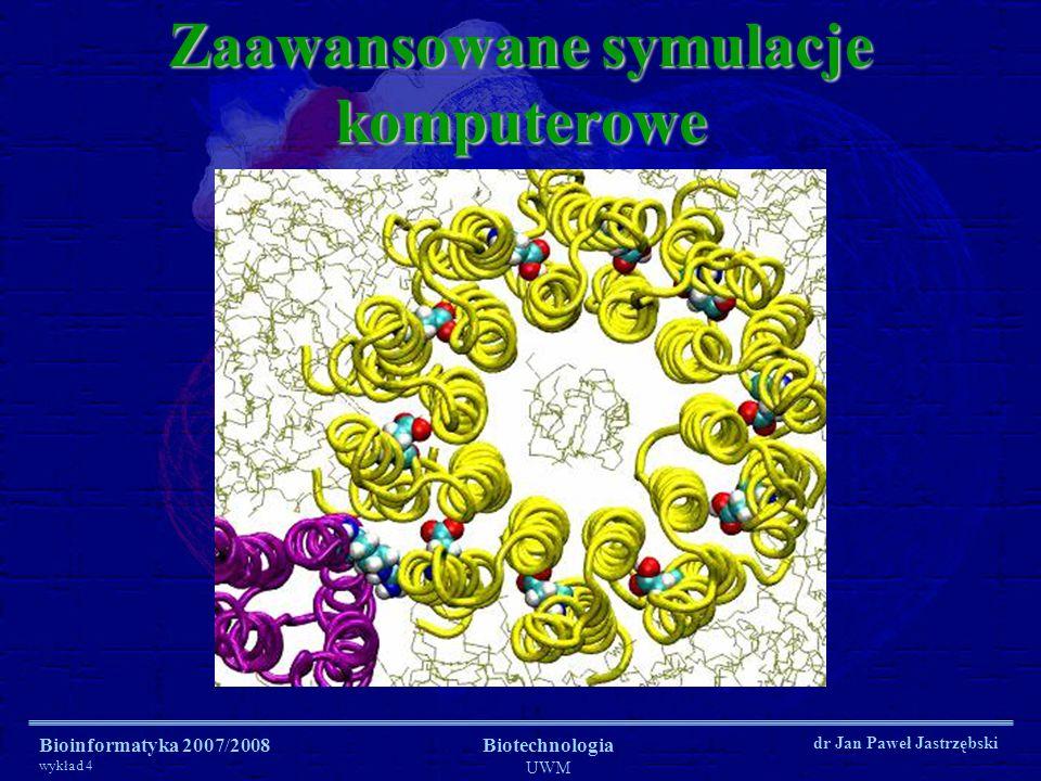 Bioinformatyka 2007/2008 wykład 4 Biotechnologia UWM dr Jan Paweł Jastrzębski Zaawansowane symulacje komputerowe