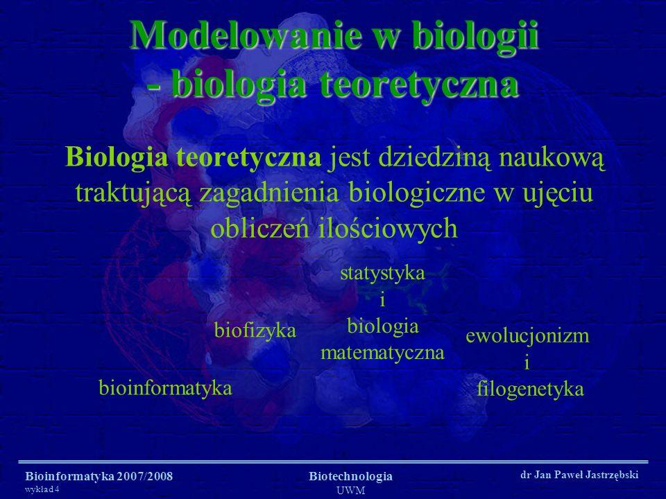 Bioinformatyka 2007/2008 wykład 4 Biotechnologia UWM dr Jan Paweł Jastrzębski Modelowanie w biologii - biologia teoretyczna Biologia teoretyczna jest