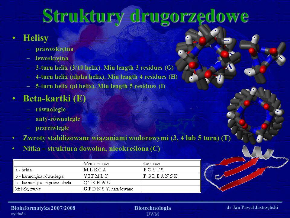 Bioinformatyka 2007/2008 wykład 4 Biotechnologia UWM dr Jan Paweł Jastrzębski Struktury drugorzędowe Helisy –prawoskrętna –lewoskrętna –3-turn helix (