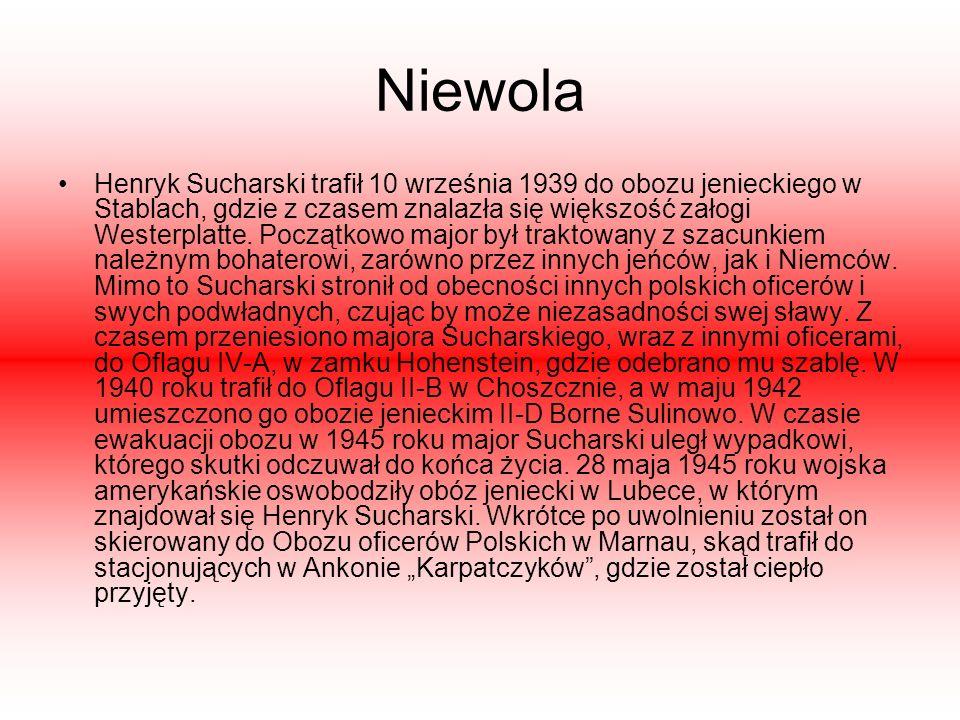 Niewola Henryk Sucharski trafił 10 września 1939 do obozu jenieckiego w Stablach, gdzie z czasem znalazła się większość załogi Westerplatte. Początkow