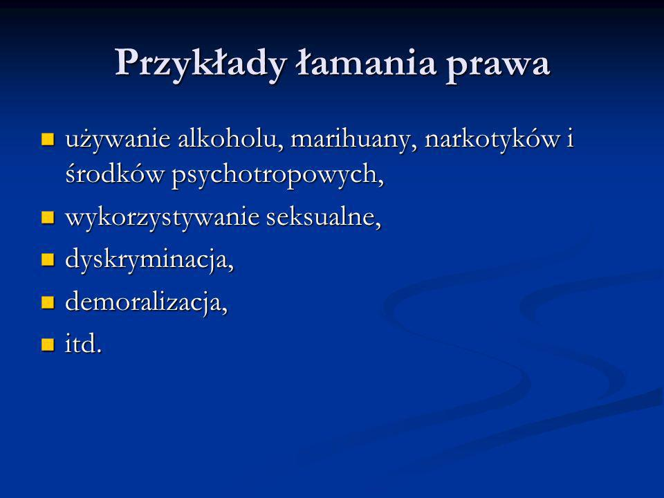 Przykłady łamania prawa używanie alkoholu, marihuany, narkotyków i środków psychotropowych, używanie alkoholu, marihuany, narkotyków i środków psychot