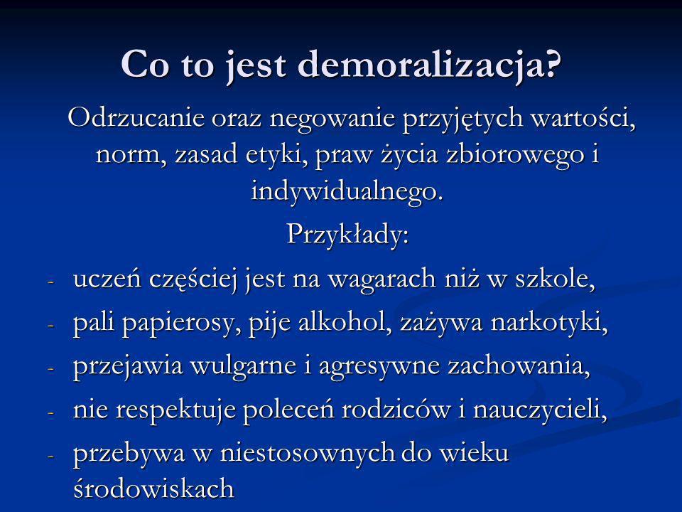 Co to jest demoralizacja? Odrzucanie oraz negowanie przyjętych wartości, norm, zasad etyki, praw życia zbiorowego i indywidualnego. Odrzucanie oraz ne