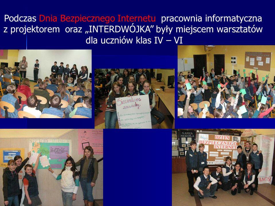 Podczas Dnia Bezpiecznego Internetu pracownia informatyczna z projektorem oraz INTERDWÓJKA były miejscem warsztatów dla uczniów klas IV – VI