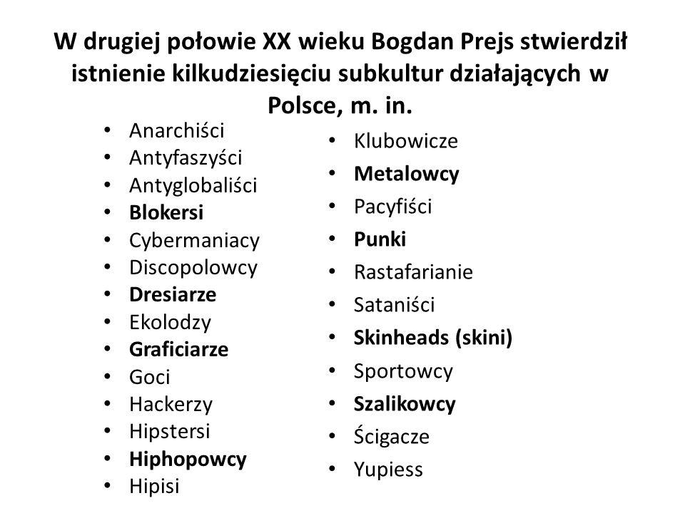 W drugiej połowie XX wieku Bogdan Prejs stwierdził istnienie kilkudziesięciu subkultur działających w Polsce, m.