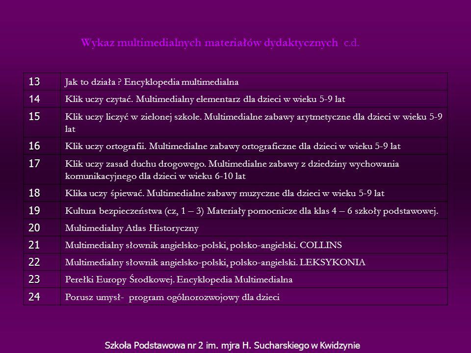 Szkoła Podstawowa nr 2 im. mjra H. Sucharskiego w Kwidzynie 13 Jak to działa ? Encyklopedia multimedialna 14 Klik uczy czytać. Multimedialny elementar