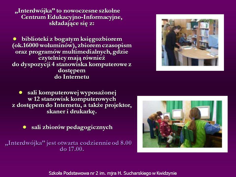 W roku szkolnym 2005/2006 Interdwójka wzbogaciła się o nowy sprzęt komputerowy przyznany naszej szkole w ramach projektu INTERNETOWE CENTRA INFORMACJI MULTIMEDIALNEJ W BIBLIOTEKACH SZKOLNYCH I PEDAGOGICZNYCH mającego na celu wyposażenie bibliotek szkolnych i pedagogicznych w sprzęt informatyczny w ramach trzyletnich projektów współfinansowanych z Europejskiego Funduszu Społecznego.
