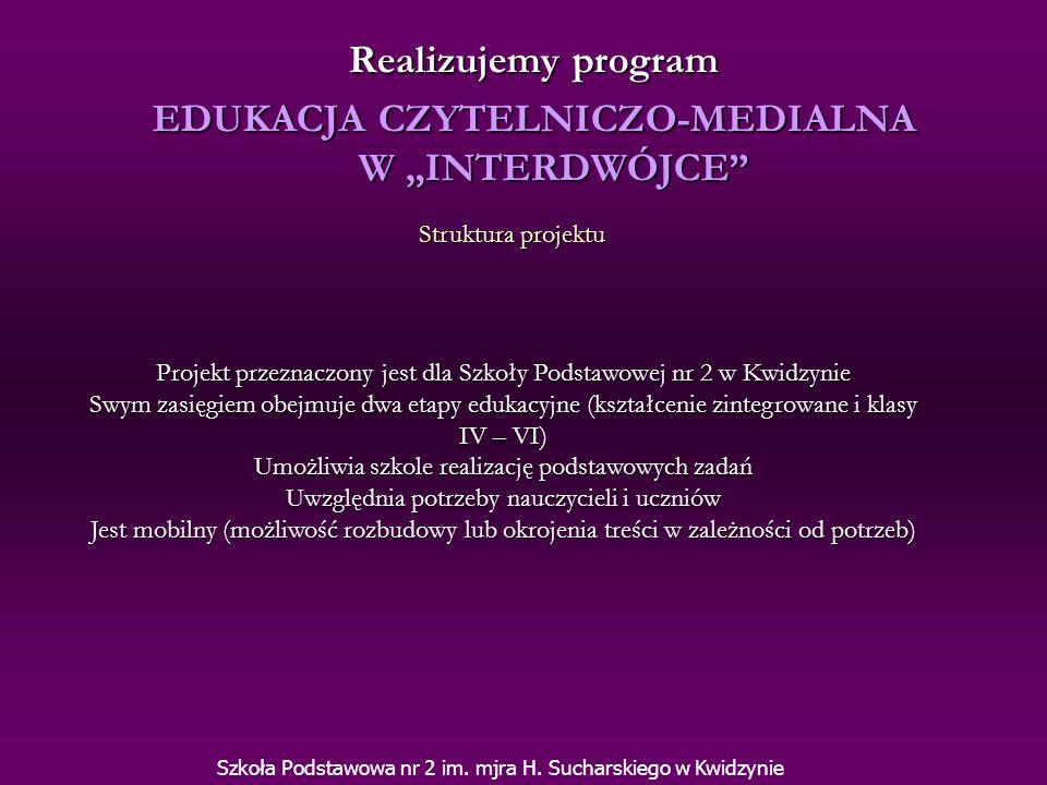 Uczeń: Rozwija zainteresowania czytelnicze Świadomie korzysta mediów Potrafi korzystać z katalogów internetowych Nabywa i pogłębia umiejętności korzystania z komputera Obsługuje programy multimedialne Nabywa umiejętności bezpiecznego serfowania po Internecie Pracuje na rzecz szkoły i Interdwójki Szuka nowych sposobów rozwiązywania problemów Pracuje samodzielnie, potrafi poszukiwać i odbierać informacje Podejmuje działania i współpracuje z innymi Cele projektu