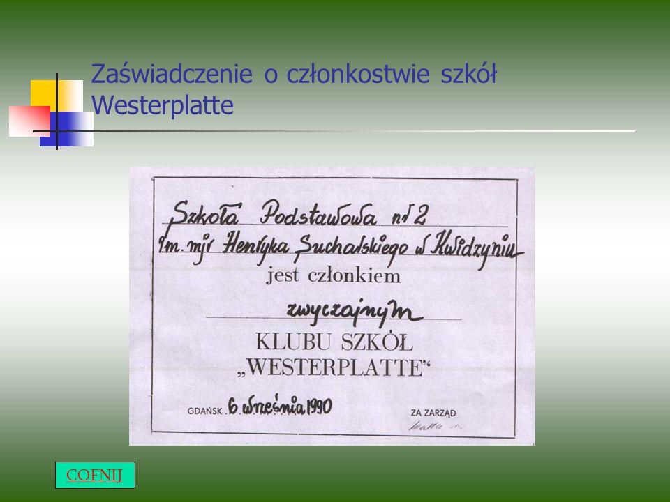 Zaświadczenie o członkostwie szkół Westerplatte COFNIJ