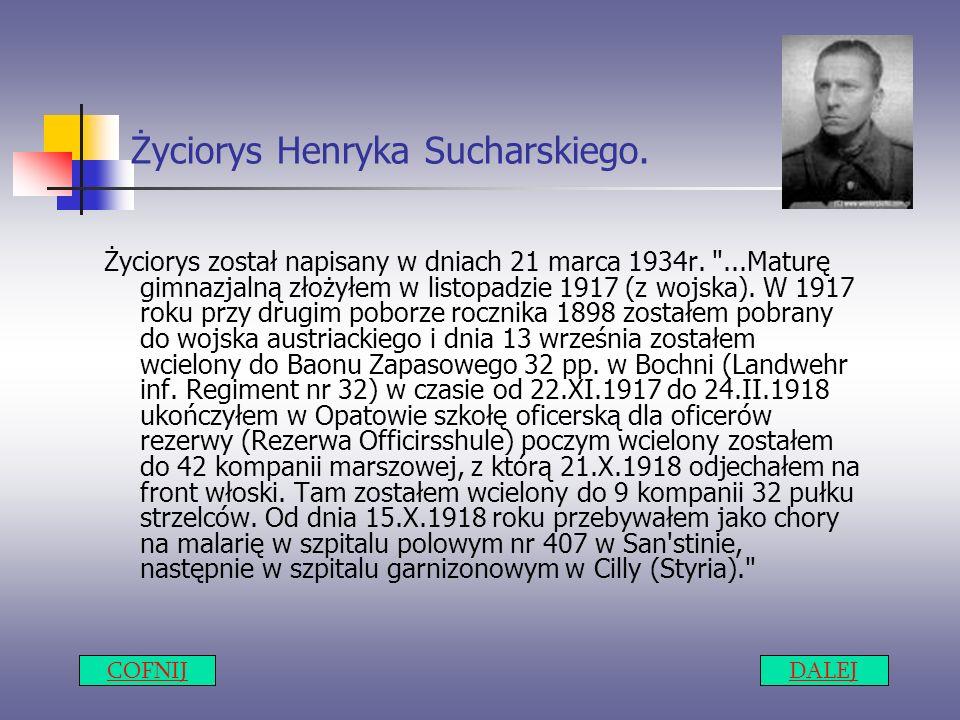 Życiorys Henryka Sucharskiego. Życiorys został napisany w dniach 21 marca 1934r.