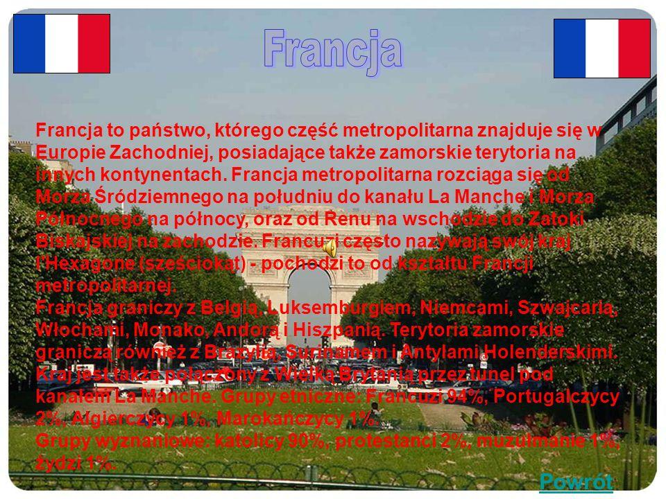 Francja to państwo, którego część metropolitarna znajduje się w Europie Zachodniej, posiadające także zamorskie terytoria na innych kontynentach.