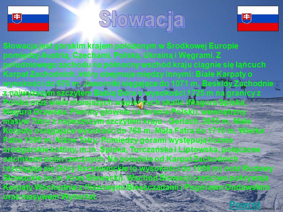 Słowacja jest górskim krajem położonym w Środkowej Europie pomiędzy Austrią, Czechami, Polską, Ukrainą i Węgrami.