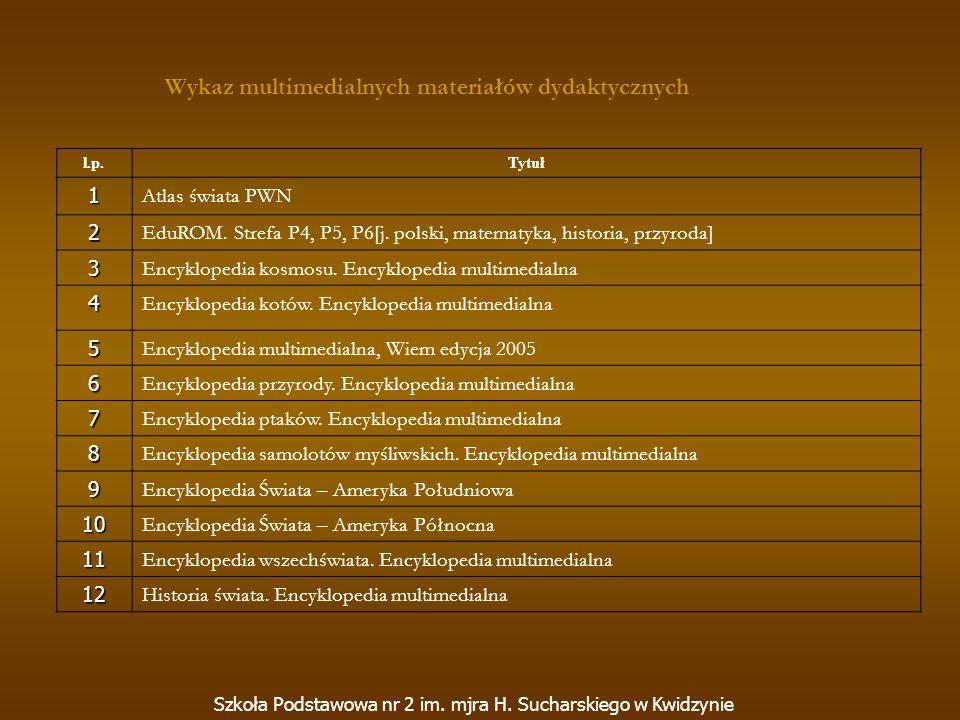 l.p.Tytuł 1 Atlas świata PWN 2 EduROM. Strefa P4, P5, P6[j. polski, matematyka, historia, przyroda] 3 Encyklopedia kosmosu. Encyklopedia multimedialna