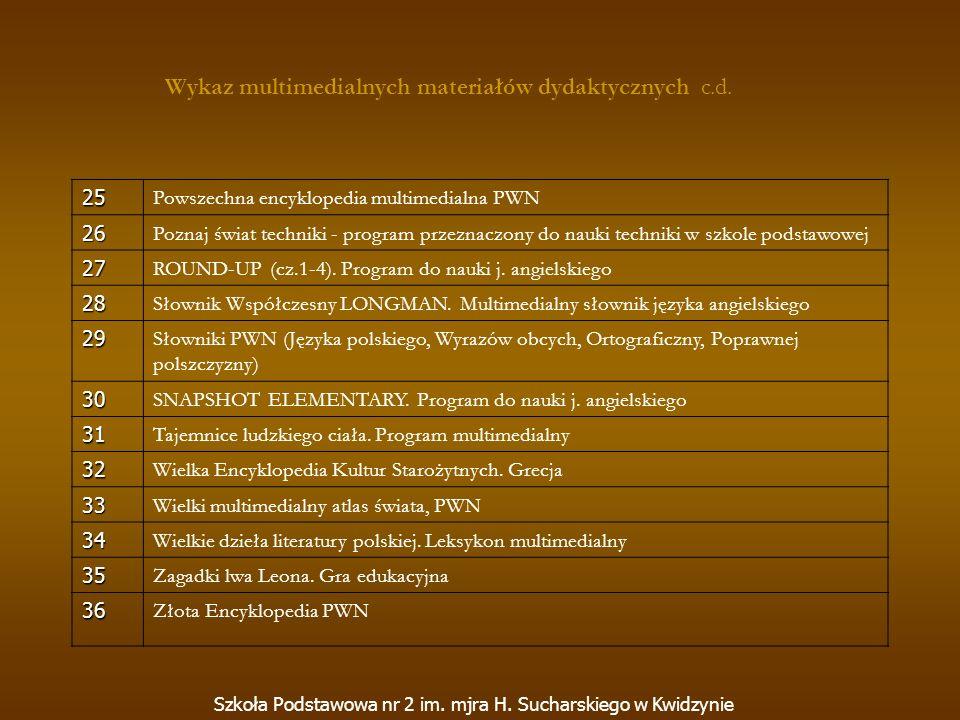 Szkoła Podstawowa nr 2 im. mjra H. Sucharskiego w Kwidzynie 25 Powszechna encyklopedia multimedialna PWN 26 Poznaj świat techniki - program przeznaczo