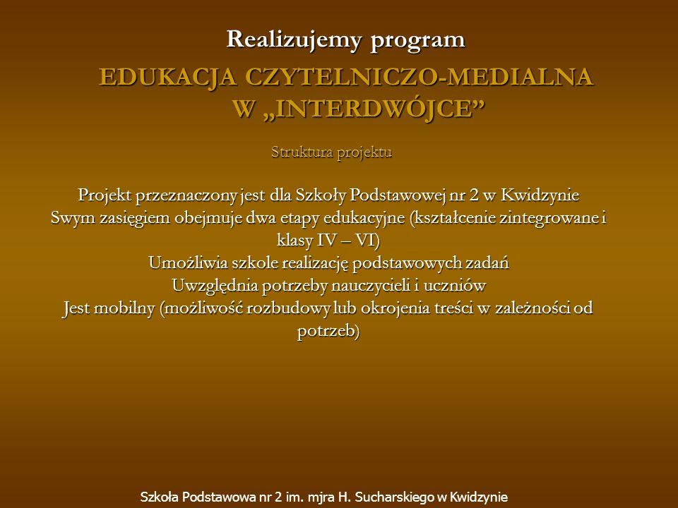 Realizujemy program EDUKACJA CZYTELNICZO-MEDIALNA W INTERDWÓJCE Szkoła Podstawowa nr 2 im. mjra H. Sucharskiego w Kwidzynie Struktura projektu Projekt