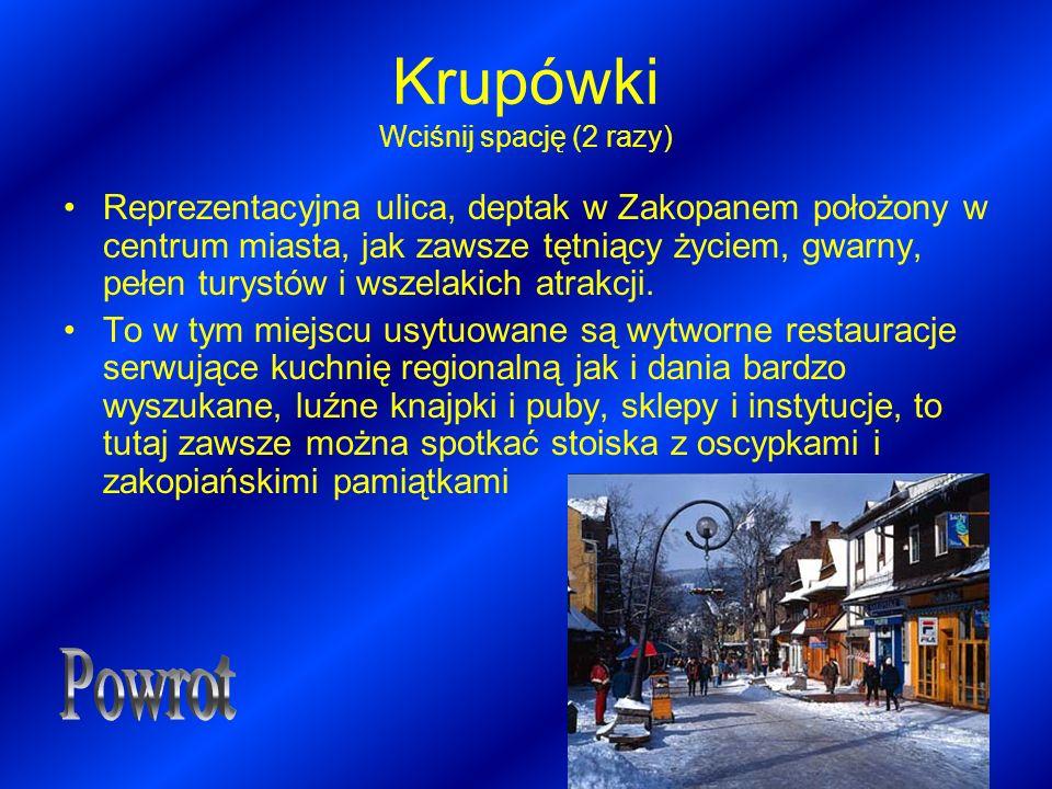 Krupówki Wciśnij spację (2 razy) Reprezentacyjna ulica, deptak w Zakopanem położony w centrum miasta, jak zawsze tętniący życiem, gwarny, pełen turyst