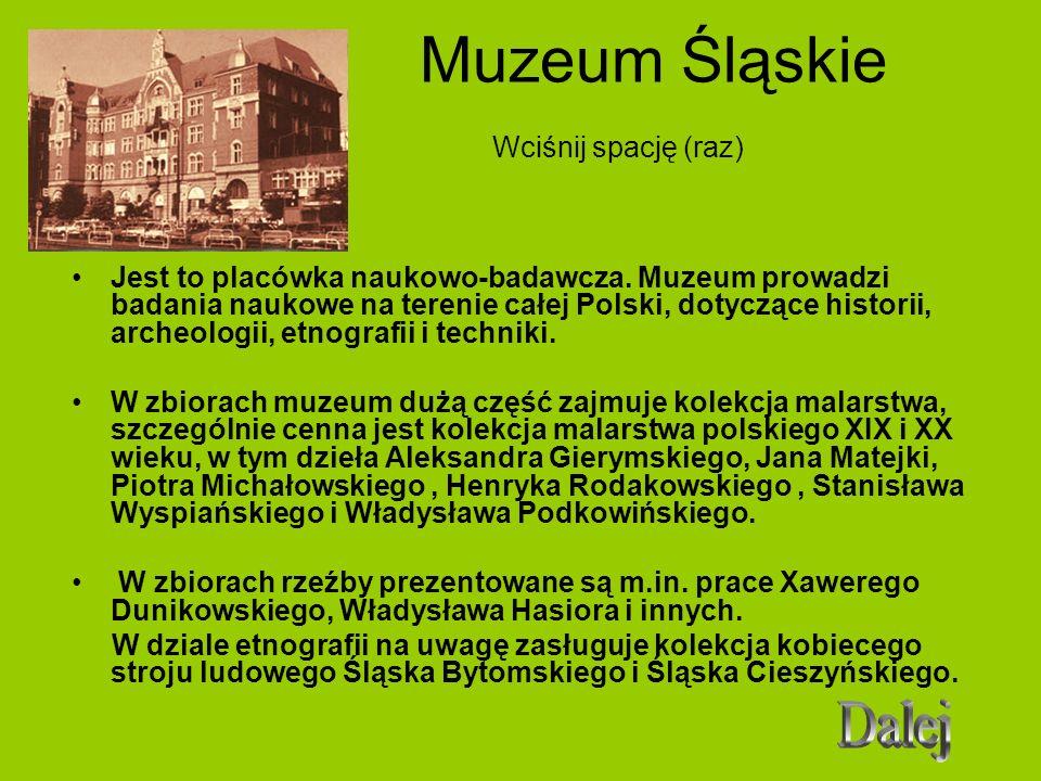 Muzeum Śląskie Wciśnij spację (raz) Jest to placówka naukowo-badawcza. Muzeum prowadzi badania naukowe na terenie całej Polski, dotyczące historii, ar