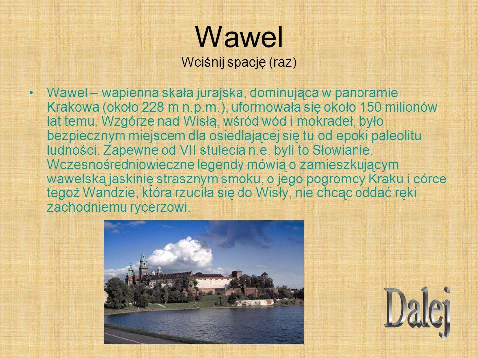 Wawel Wciśnij spację (raz) Wawel – wapienna skała jurajska, dominująca w panoramie Krakowa (około 228 m n.p.m.), uformowała się około 150 milionów lat