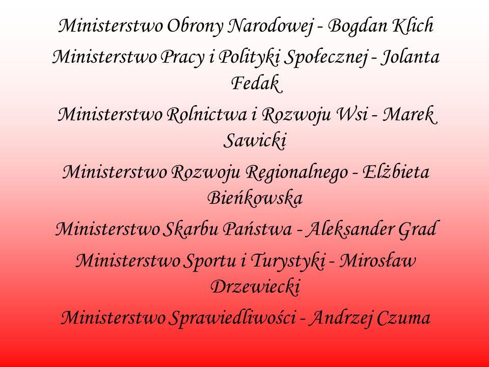 Ministerstwo Obrony Narodowej - Bogdan Klich Ministerstwo Pracy i Polityki Społecznej - Jolanta Fedak Ministerstwo Rolnictwa i Rozwoju Wsi - Marek Saw