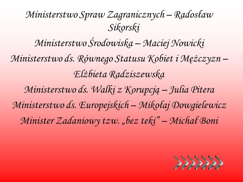 Ministerstwo Spraw Zagranicznych – Radosław Sikorski Ministerstwo Środowiska – Maciej Nowicki Ministerstwo ds. Równego Statusu Kobiet i Mężczyzn – Elż