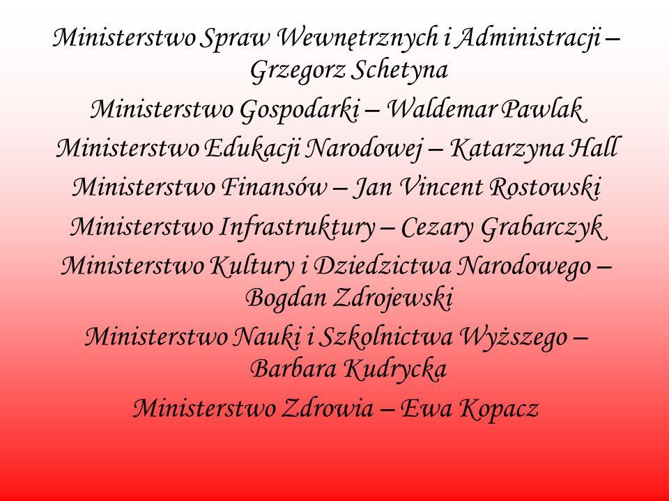Ministerstwo Spraw Wewnętrznych i Administracji – Grzegorz Schetyna Ministerstwo Gospodarki – Waldemar Pawlak Ministerstwo Edukacji Narodowej – Katarz