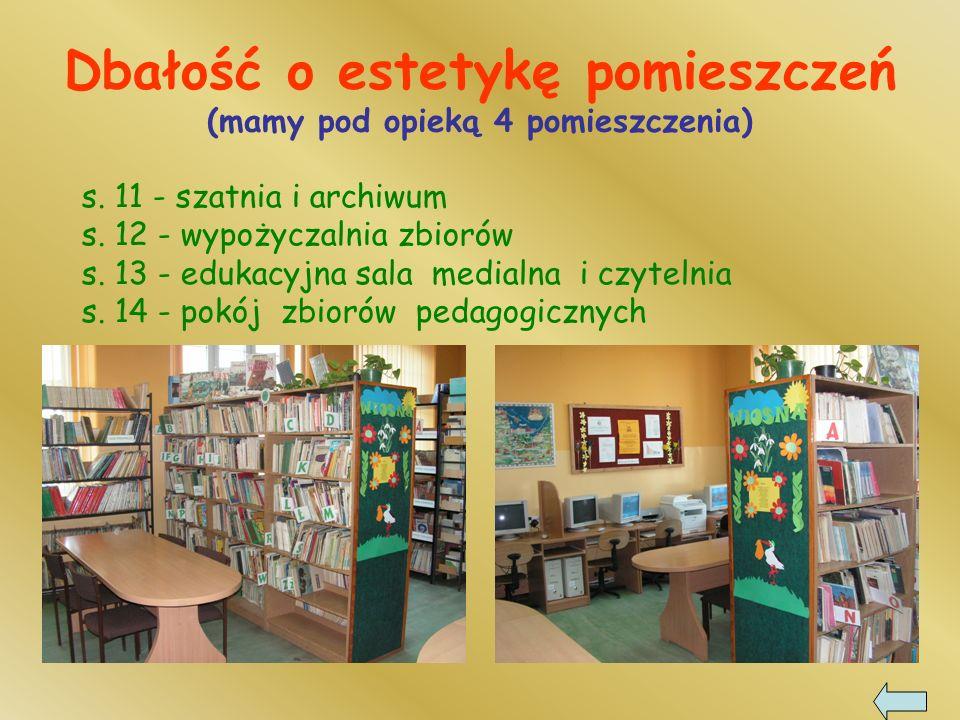 s.11 - szatnia i archiwum s. 12 - wypożyczalnia zbiorów s.