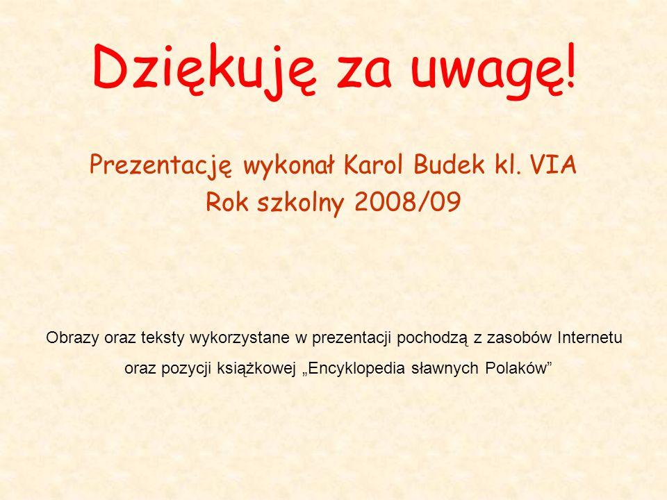 Dziękuję za uwagę! Prezentację wykonał Karol Budek kl. VIA Rok szkolny 2008/09 Obrazy oraz teksty wykorzystane w prezentacji pochodzą z zasobów Intern