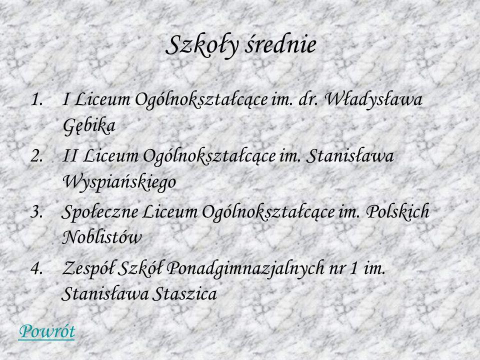 Szkoły średnie 1.I Liceum Ogólnokształcące im. dr. Władysława Gębika 2.II Liceum Ogólnokształcące im. Stanisława Wyspiańskiego 3.Społeczne Liceum Ogól