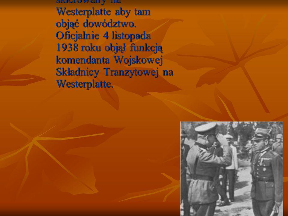 W 1928 roku awansował na majora i został skierowany na Westerplatte aby tam objąć dowództwo. Oficjalnie 4 listopada 1938 roku objął funkcją komendanta