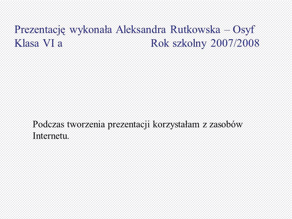 Prezentację wykonała Aleksandra Rutkowska – Osyf Klasa VI a Rok szkolny 2007/2008 Podczas tworzenia prezentacji korzystałam z zasobów Internetu.