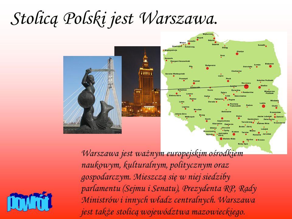 Stolicą Polski jest Warszawa. Warszawa jest ważnym europejskim ośrodkiem naukowym, kulturalnym, politycznym oraz gospodarczym. Mieszczą się w niej sie