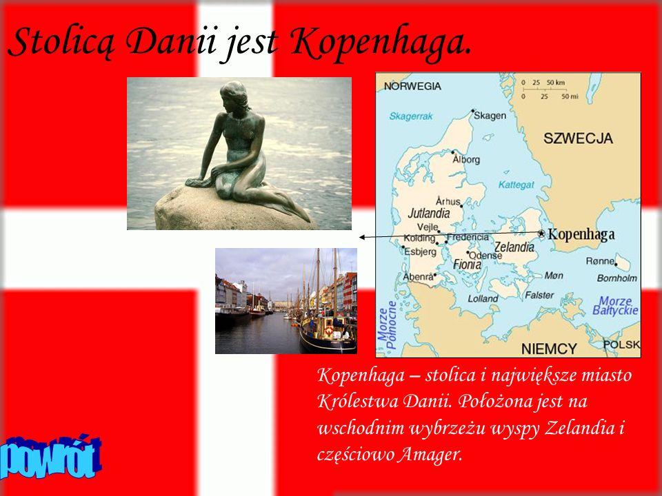 Stolicą Danii jest Kopenhaga. Kopenhaga – stolica i największe miasto Królestwa Danii. Położona jest na wschodnim wybrzeżu wyspy Zelandia i częściowo