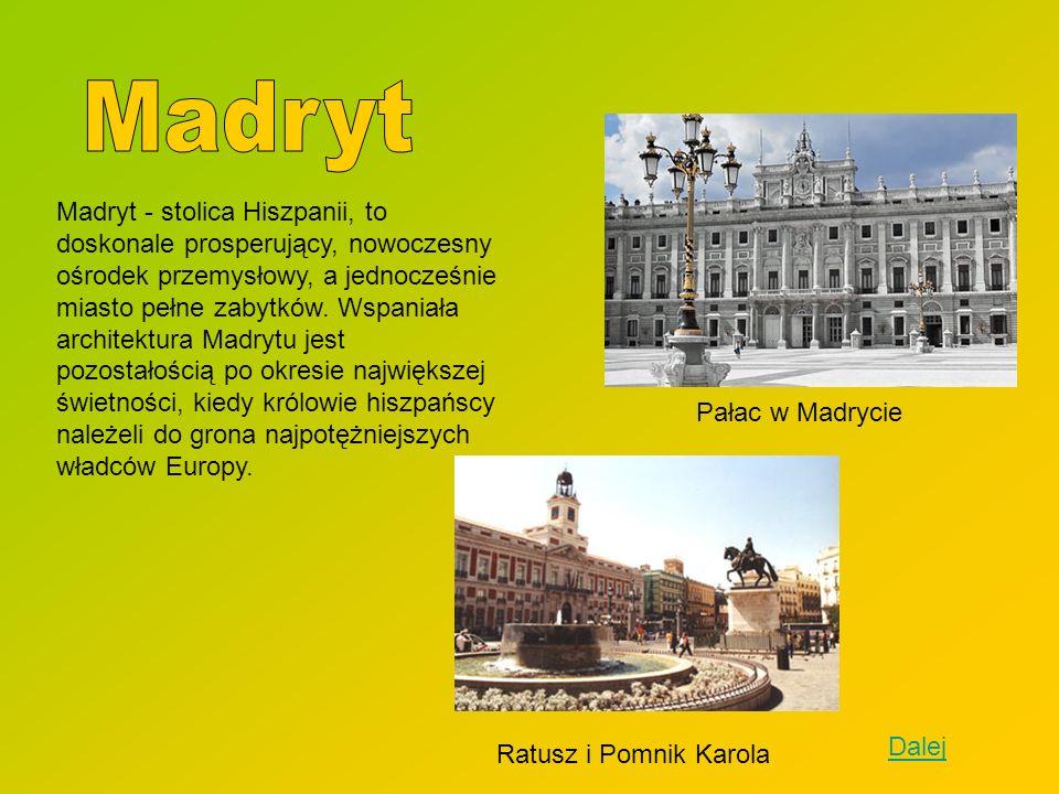 Madryt - stolica Hiszpanii, to doskonale prosperujący, nowoczesny ośrodek przemysłowy, a jednocześnie miasto pełne zabytków. Wspaniała architektura Ma