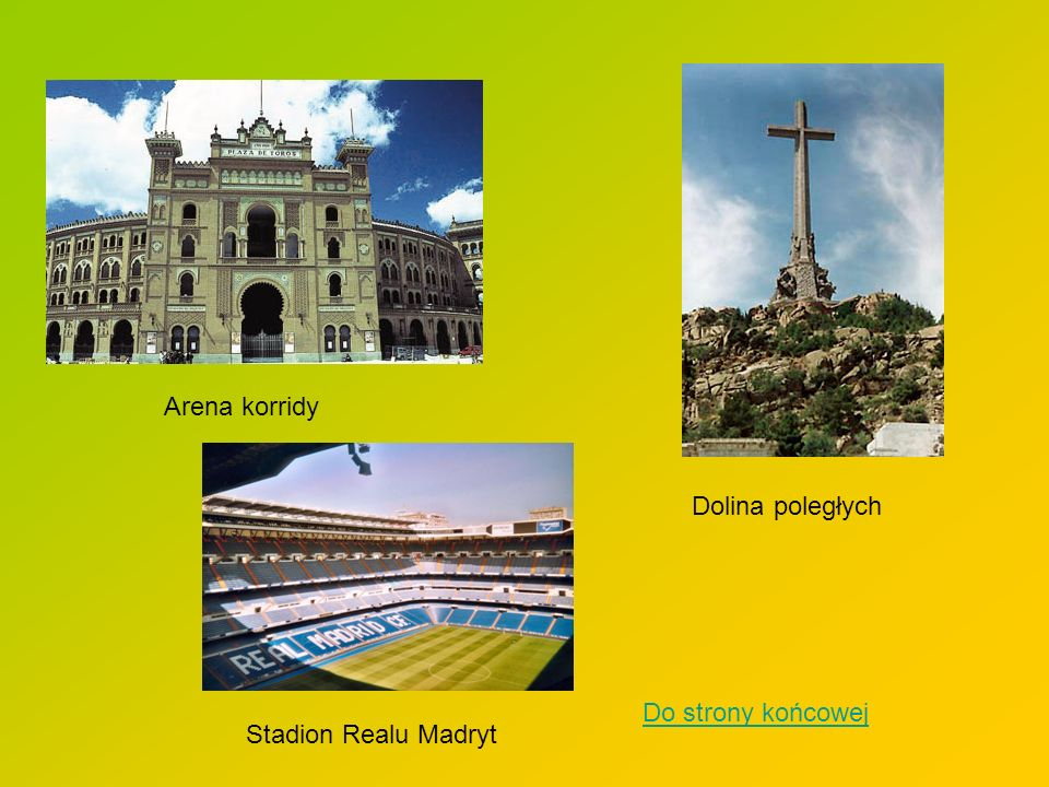 Arena korridy Dolina poległych Stadion Realu Madryt Do strony końcowej