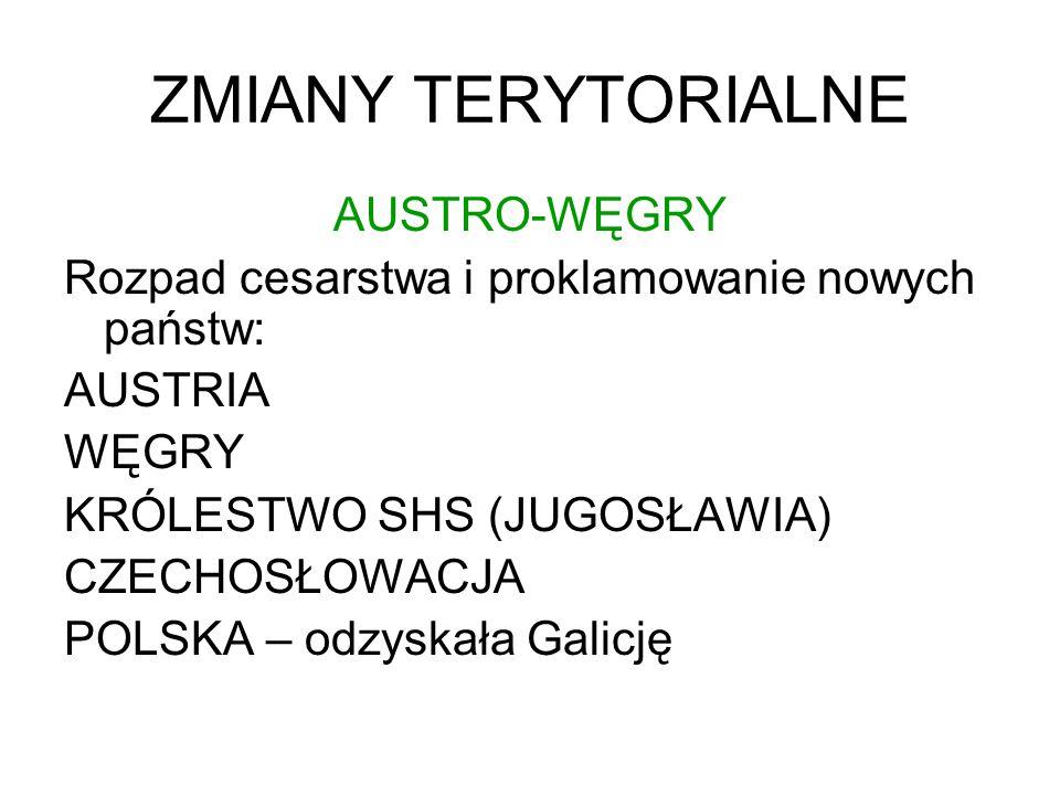 ZMIANY TERYTORIALNE AUSTRO-WĘGRY Rozpad cesarstwa i proklamowanie nowych państw: AUSTRIA WĘGRY KRÓLESTWO SHS (JUGOSŁAWIA) CZECHOSŁOWACJA POLSKA – odzy