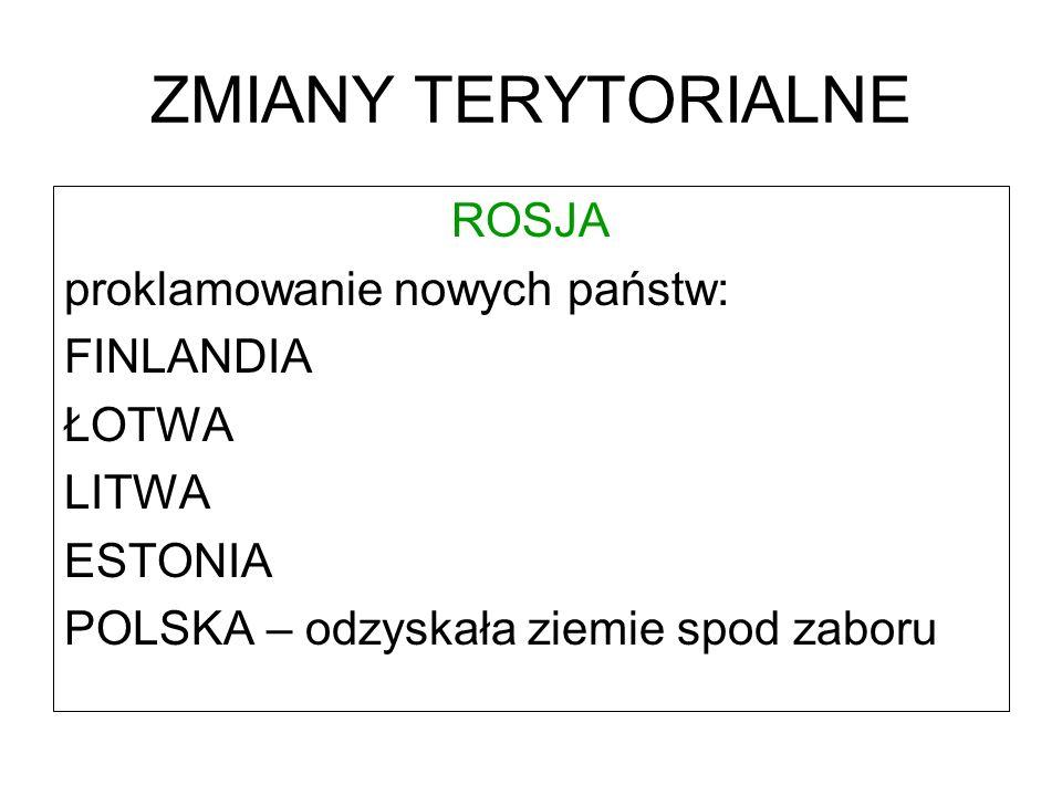 ZMIANY TERYTORIALNE ROSJA proklamowanie nowych państw: FINLANDIA ŁOTWA LITWA ESTONIA POLSKA – odzyskała ziemie spod zaboru