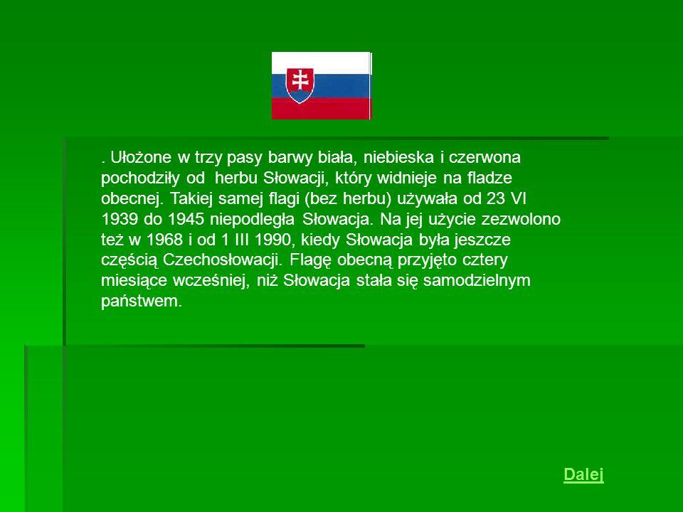 . Ułożone w trzy pasy barwy biała, niebieska i czerwona pochodziły od herbu Słowacji, który widnieje na fladze obecnej. Takiej samej flagi (bez herbu)