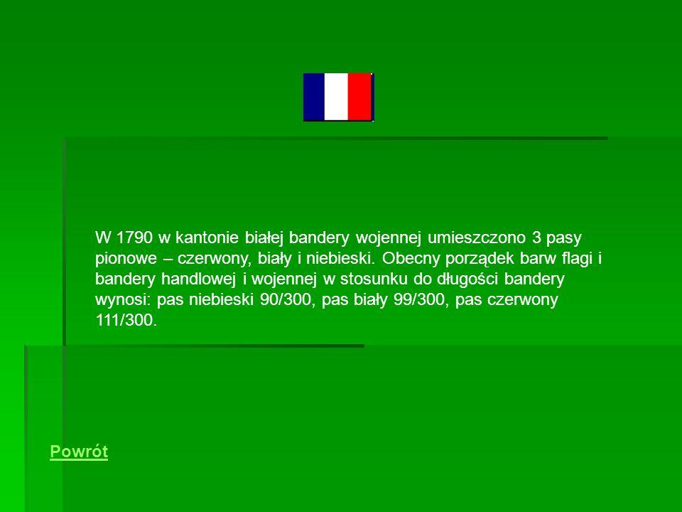 W 1790 w kantonie białej bandery wojennej umieszczono 3 pasy pionowe – czerwony, biały i niebieski.