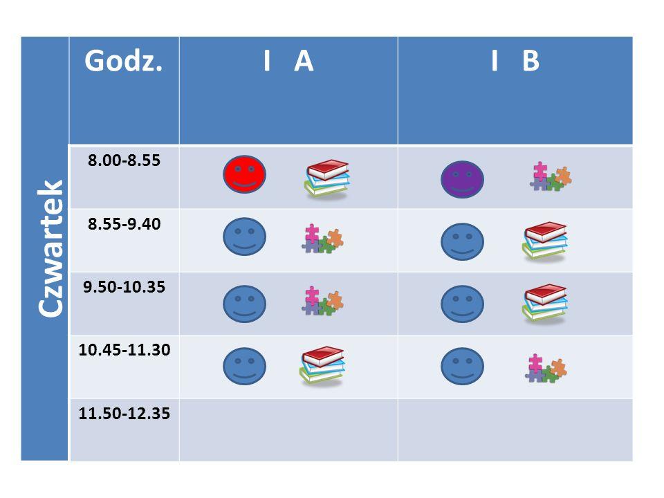 Czwartek Godz.I AI B 8.00-8.55 8.55-9.40 9.50-10.35 10.45-11.30 11.50-12.35