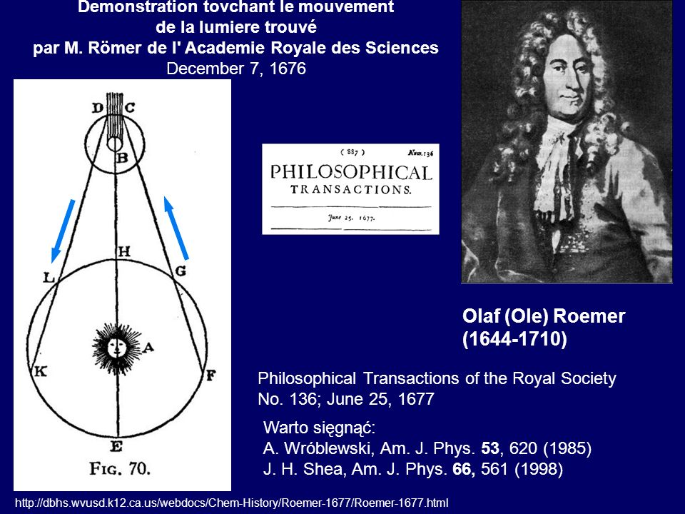 Olaf (Ole) Roemer (1644-1710) Philosophical Transactions of the Royal Society No. 136; June 25, 1677 http://dbhs.wvusd.k12.ca.us/webdocs/Chem-History/